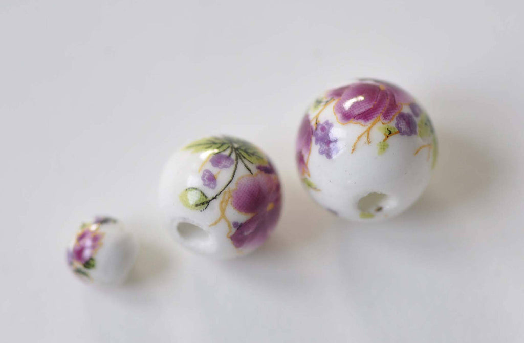 20 pcs Hand Painted Red Flower Chinese Ceramic Beads 6mm to 18mm