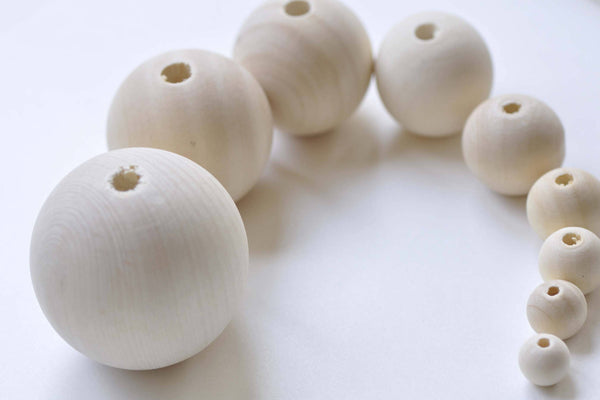 Round Unfinished Wood Beads 4mm to 50mm