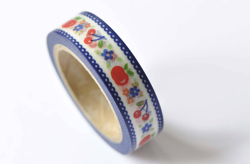 Cherry Apple Fruit Lace Edge Washi Tape 15mm x 10M Roll A12490