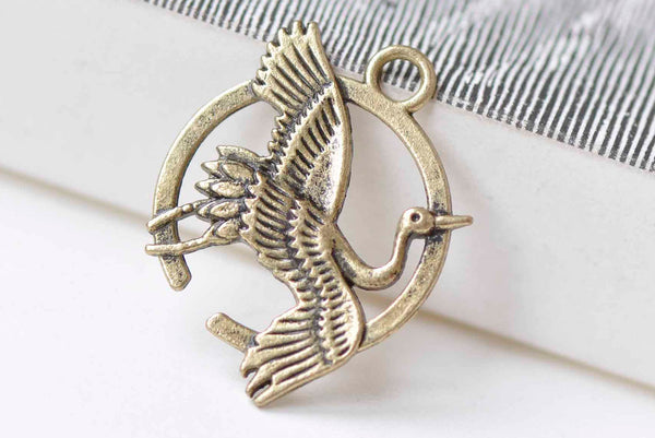 Antique Bronze Crane Bird Flower Ring Charms Set of 10 A9004