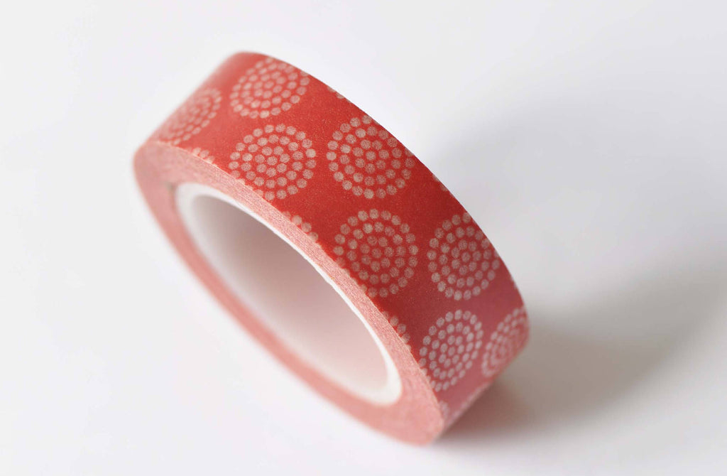 Orange Daisy Flower Pattern Washi Tape 15mm Wide x 10M Roll  A12511