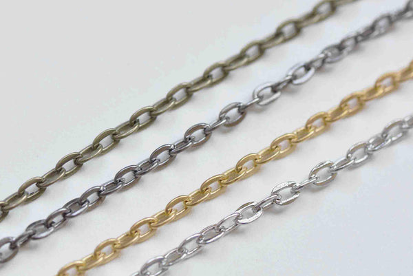 32ft (10m) Antique Bronze/Platinum/Gold/Gunmetal Flat Cable Chain Link