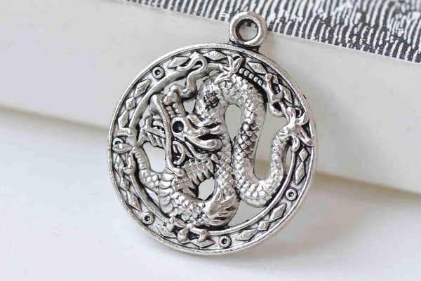 10 pcs Antique Silver Dragon Ring Round Charms 23mm A8908