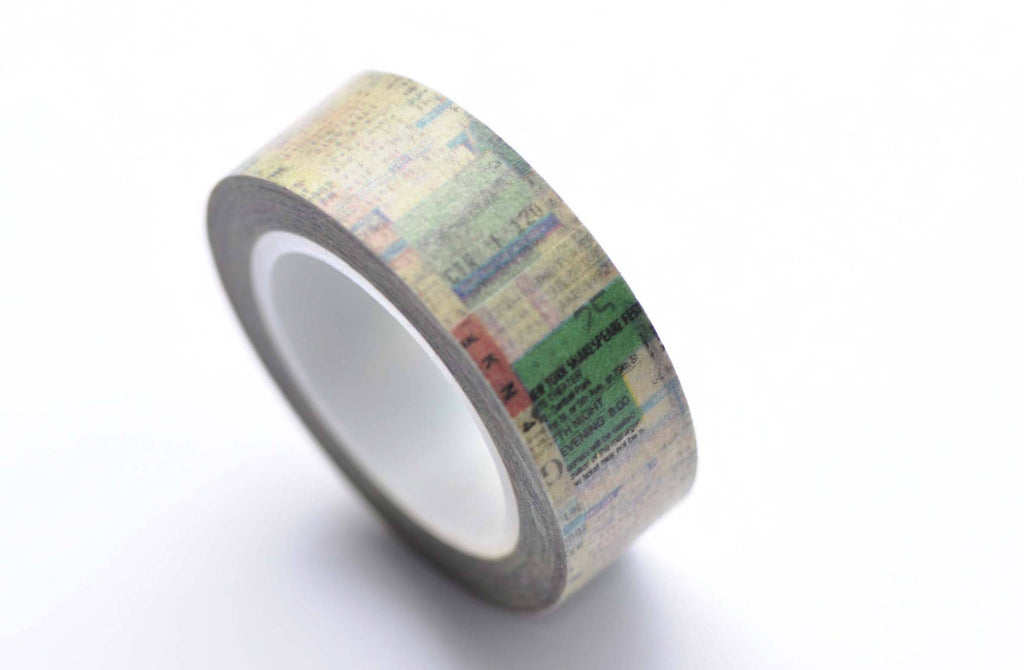 Newsprint Old Receipts Washi Tape 15mm Wide x 10M Roll A12570