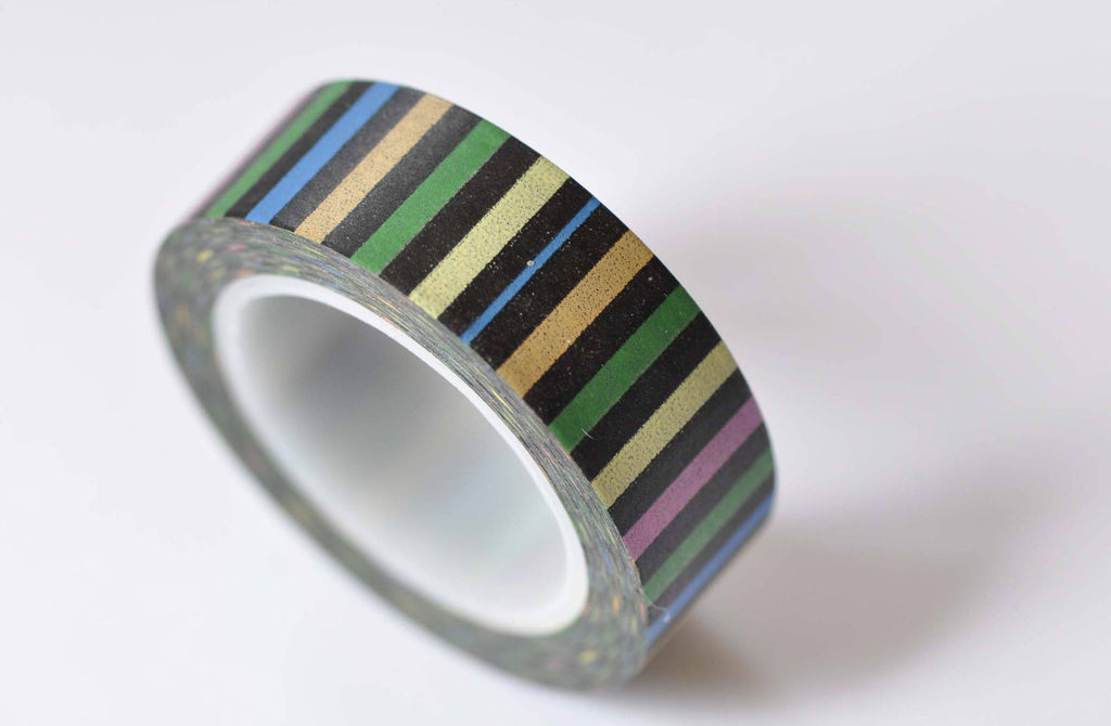 Colorful Stripes Deco Adhesive Washi Tape 15mm Wide x 10M Roll A12577