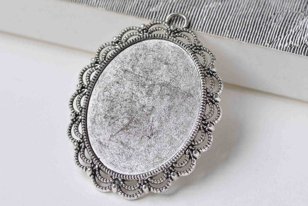 6 pcs Antique Silver Base Setting Match 30x40mm Cabochon A8912