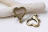 10 pcs Antiqued Bronze Heart Lobster Clasps 22x27mm A8913