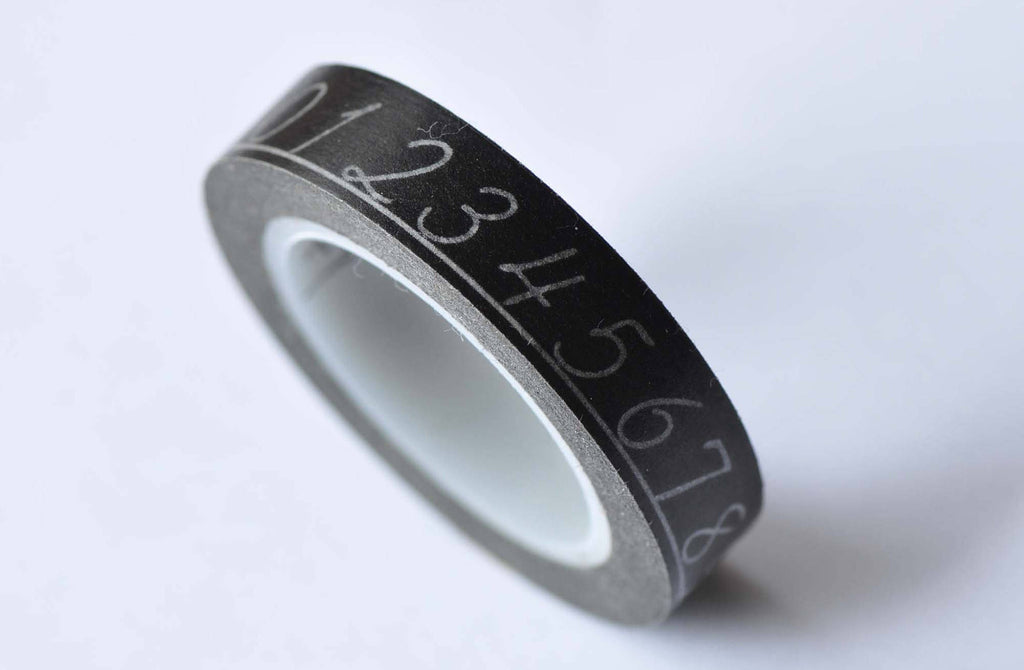 Skinny Number On Black Masking Washi Tape 10mm x 10M Roll A12765