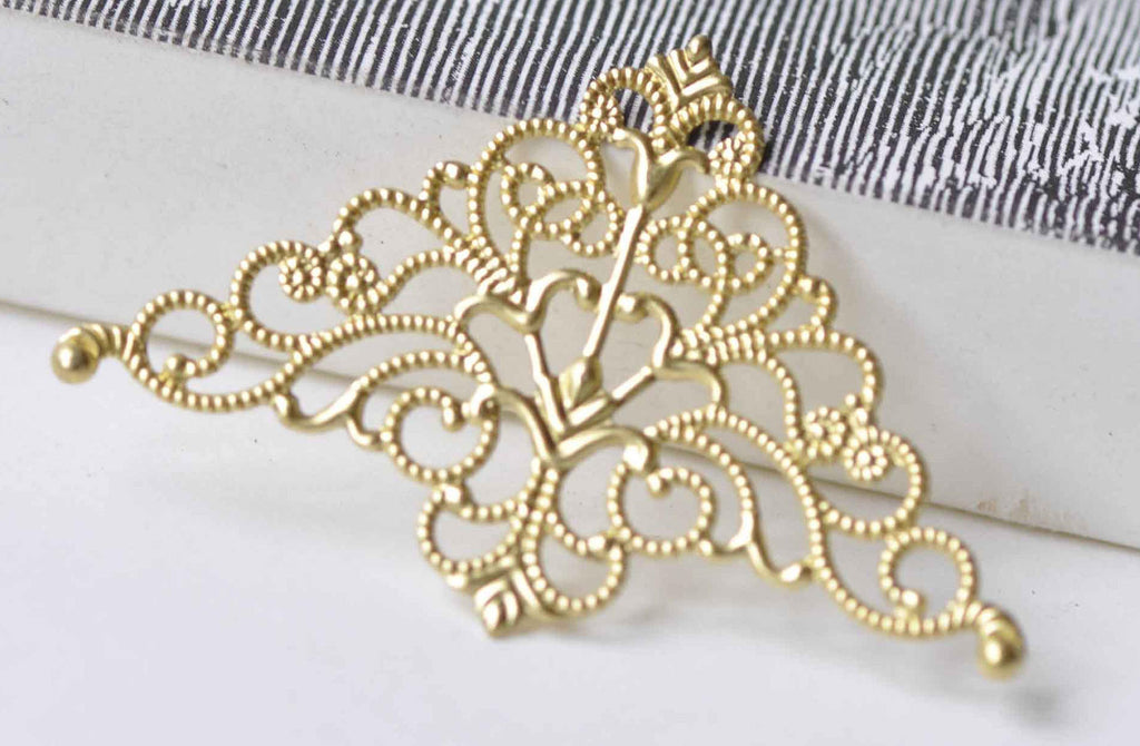 10 pcs Raw Brass Large Filigree Triangle Stamping Embellishments A8971