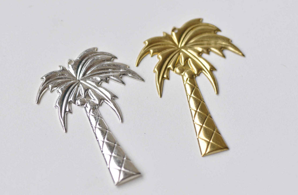 10 pcs Silver/Raw Brass Coconut Palm Tree Pendants Embellishments