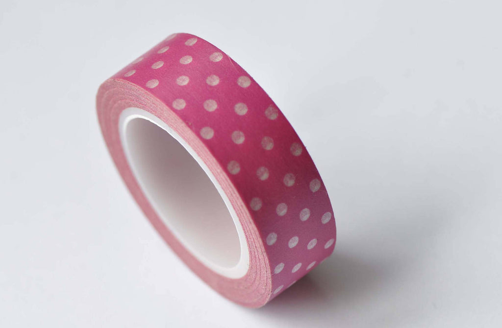 Pink Polka Dots Adhesive Washi Tape 15mm Wide x 10M Roll A12677