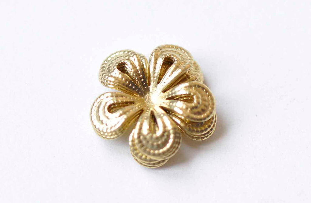 20 pcs Raw Brass Filigree Flower Round Embellishments 16mm A9047