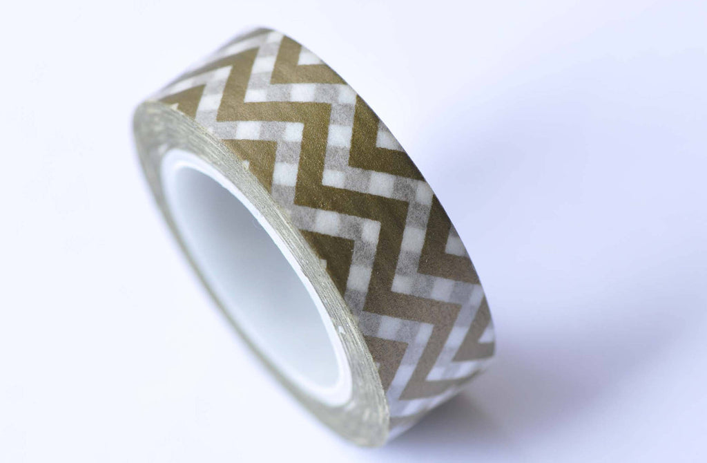 Green Chevron Wave Masking Washi Tape 15mm x 10M Roll A12742