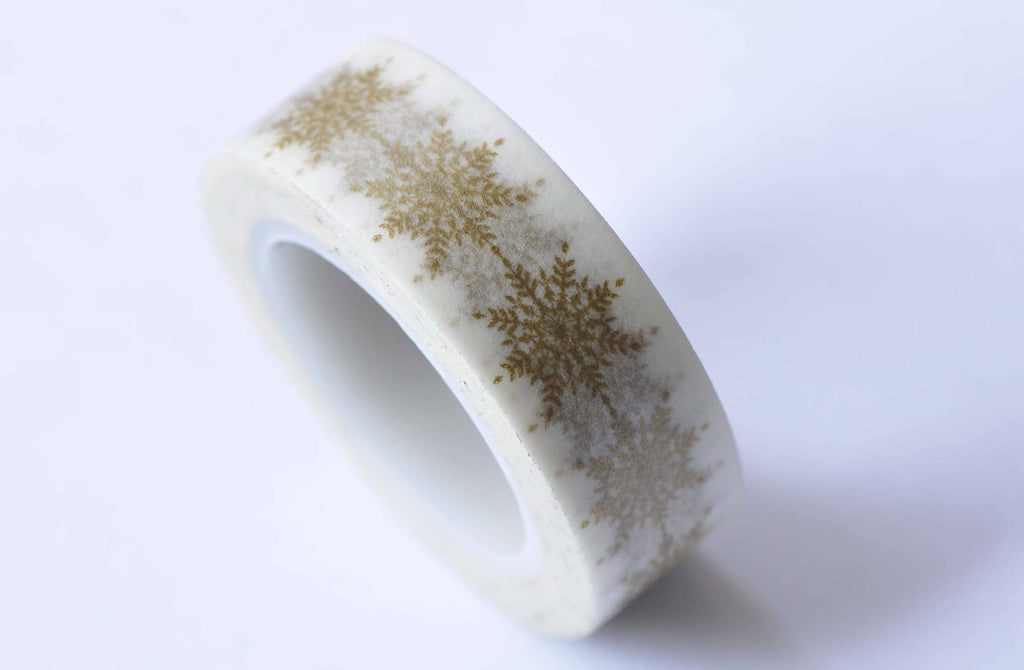 Gold Snowflake Tree Leaf Masking Washi Tape 15mm x 5M A12749