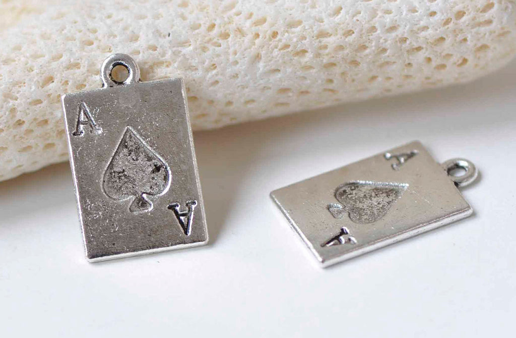10 pcs Antique Silver Ace of Spade Poker Card Charms 12x21mm A9005