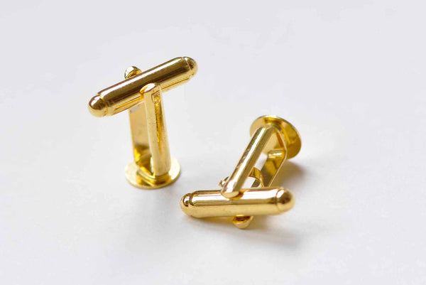 10 pcs Gold Cufflinks Blanks 6mm/8mm10mm/12mm Pad