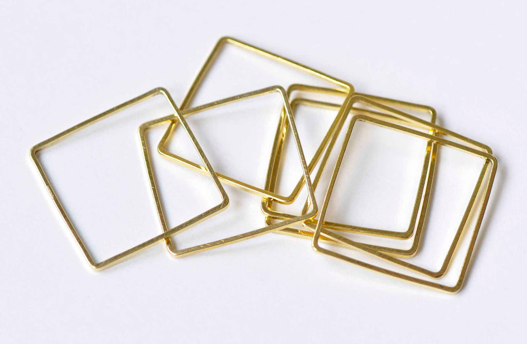 50 pcs Square Rings Gold Seamless Rings 20mm A9018
