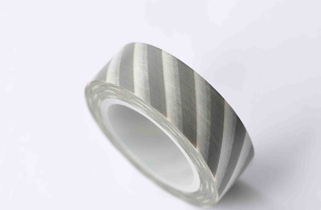 Gray White Striped Washi Tape 15mm x 10M Roll A12862