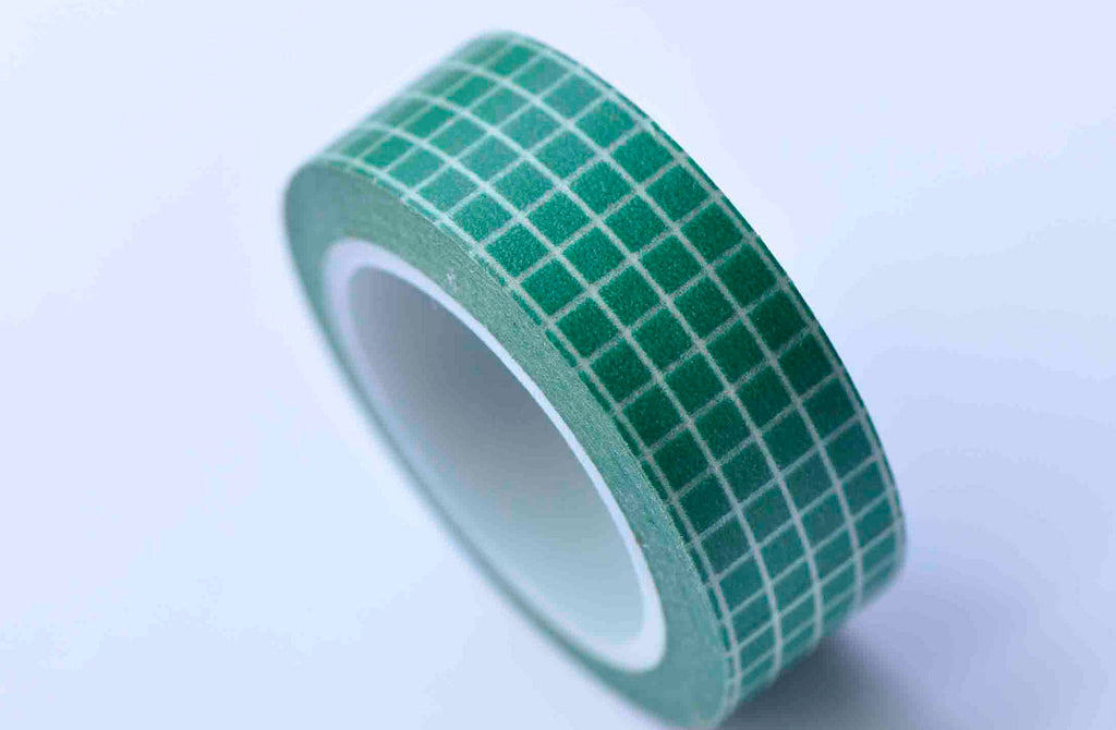 Green Grid Pattern Washi Tape Journal Supplies 15mm x 10M Roll A12875
