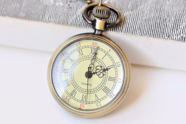 1 PC Antique Bronze Double Numerals Pocket Watch A5002