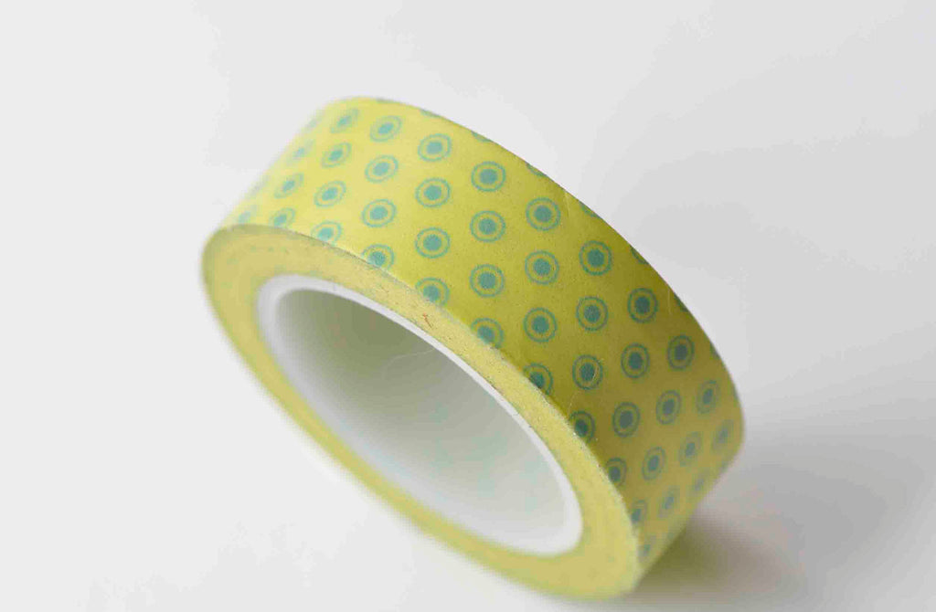 Blue Dots On Yellow Self-Adhesive Washi Tape 15mm x 10M Roll A12907