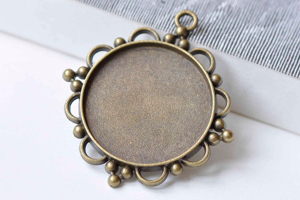5 pcs Pendant Tray Base Setting Match 30mm Cabochon A9045