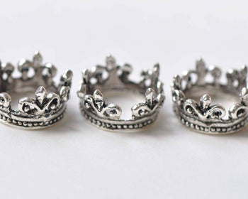 10 pcs Antique Silver Crown Ring Charms 16mm A2207