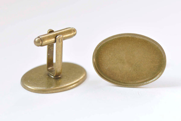 Antique Bronze Oval Bezel Cuff Link Blanks Set of 10 A3281