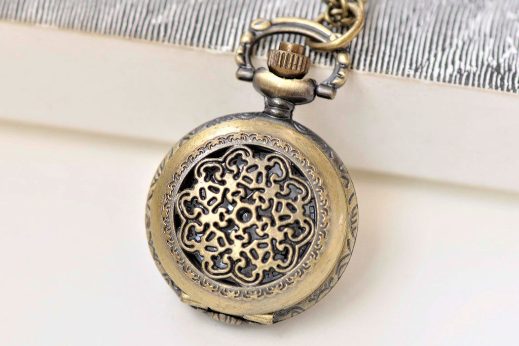 1 PC Antique Bronze Small Filigree Pocket Watch Pendant 27mm A3791