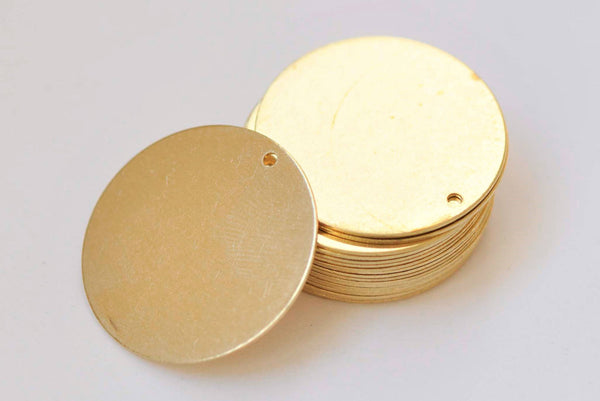 20 pcs Raw Brass  Flat Round Blank Disc Thick Charms 1 inch 25mm  A2353