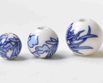 20 pcs Blue Leaf Flower Ceramic Beads 8mm/10mm/12mm