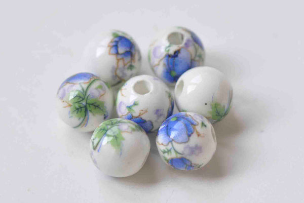 20 pcs Blue Flower Ceramic Porcelain Round Beads 6mm-14mm