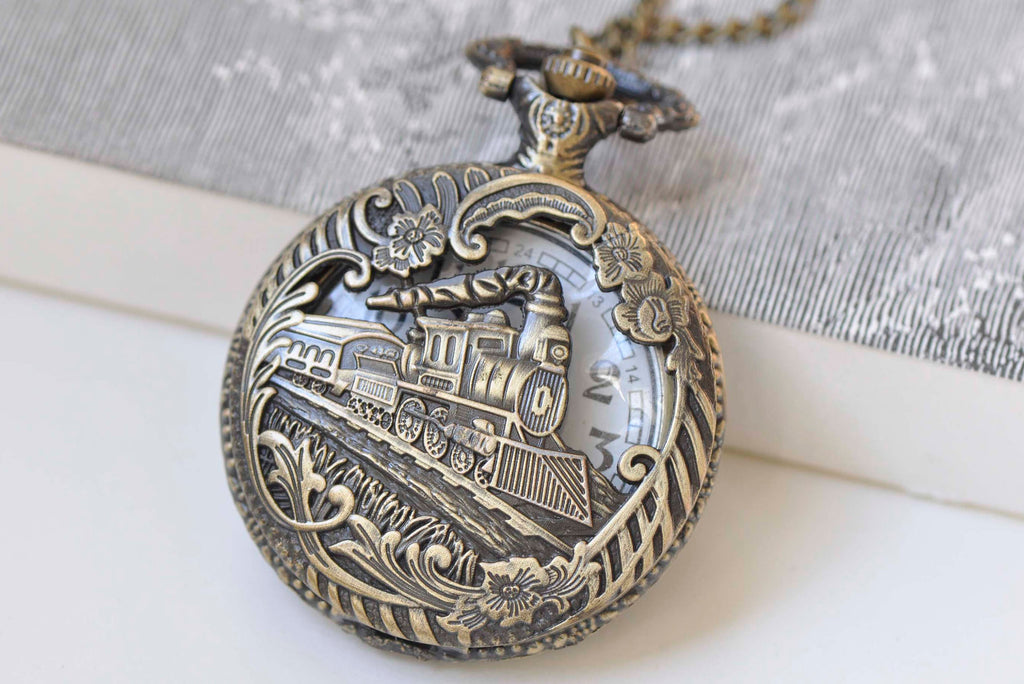 1 PC Antique Bronze Steampunk Train Large Pocket Watch Necklace A574