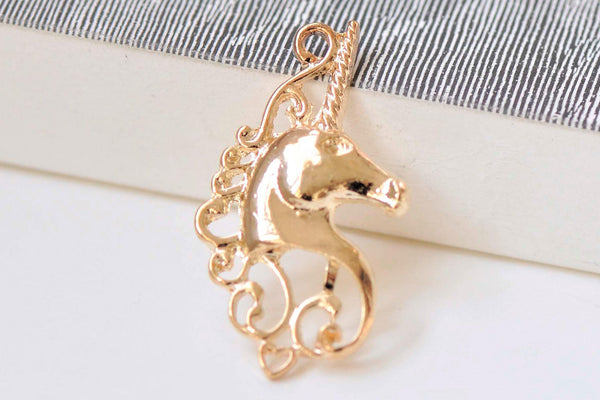 10 pcs Light Gold Filigree Unicorn Charms  20x38mm A3346
