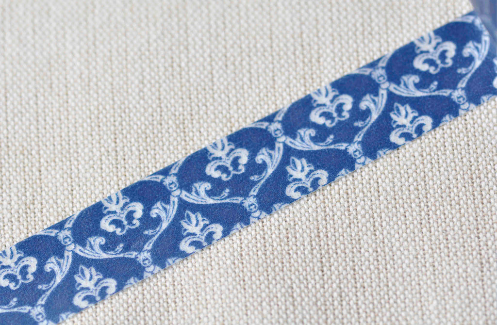 Retro Floral Design Blue Washi Tape 15mm Wide x 10m Roll A12844