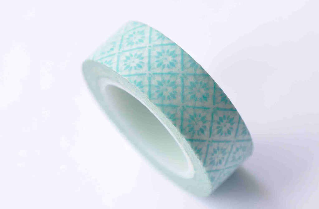 Retro Floral Design Blue Washi Tape 15mm Wide x 10m Roll A12853