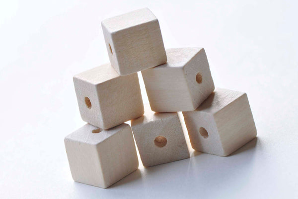 10 pcs Unfinished Natural Wood Cubic Beads 10mm/12mm/16mm/20mm