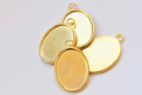 10 pcs Gold Pendant Tray Settings Blank Match 18x25mm Cabochon A2866