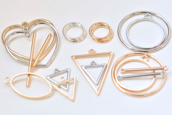 Anti Tarnish Circle Heart Triangle Oval Bar Geometric Charms Pendants