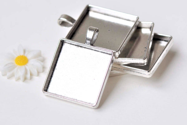10 pcs Silver Square Base Pendant Tray Match 25x25mm Cameo A5306