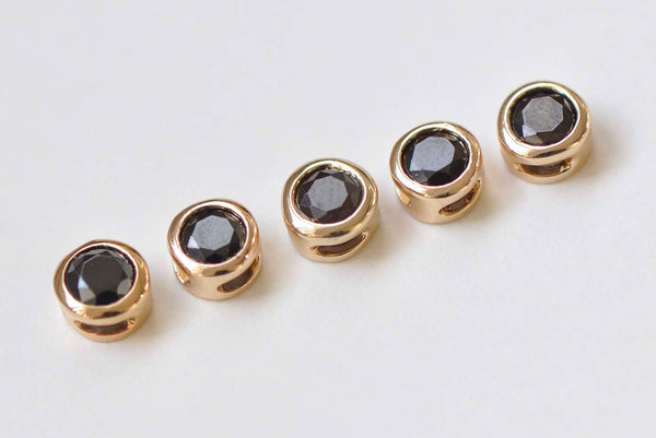 6 pcs 24K Champagne Gold Spacer Beads Black Rhinestone 5.3mm/6mm
