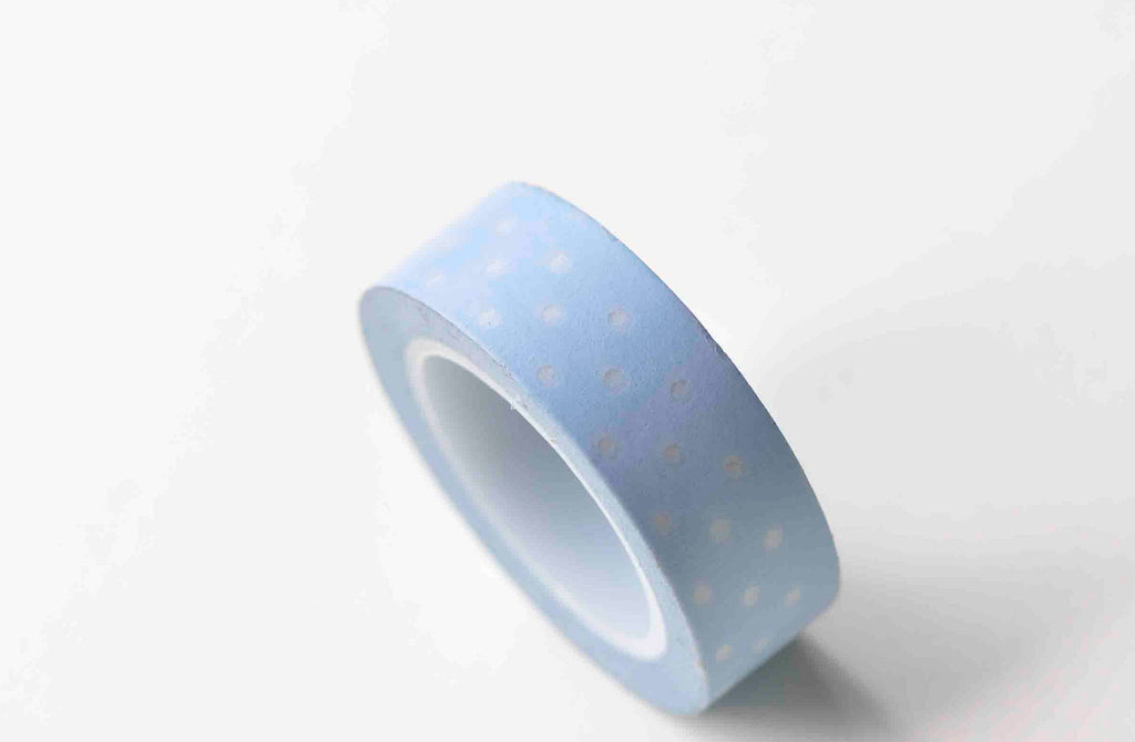 Blue Washi Tape White Polka Dots Masking Tape 15mm x 10M Roll A12947