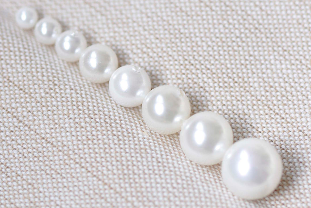 Half Drilled White Mother of Pearl Beads Round Loose Beads 3mm-20mm