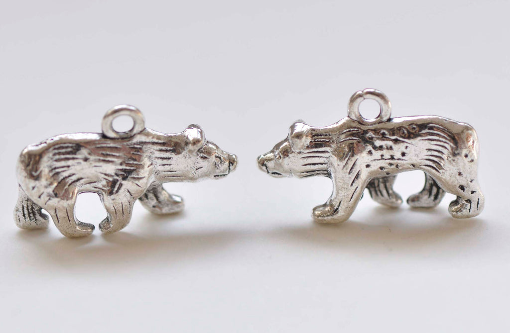 10 pcs Antique Silver 3D Polar Bear Charms Pendants 15x25mm A2950