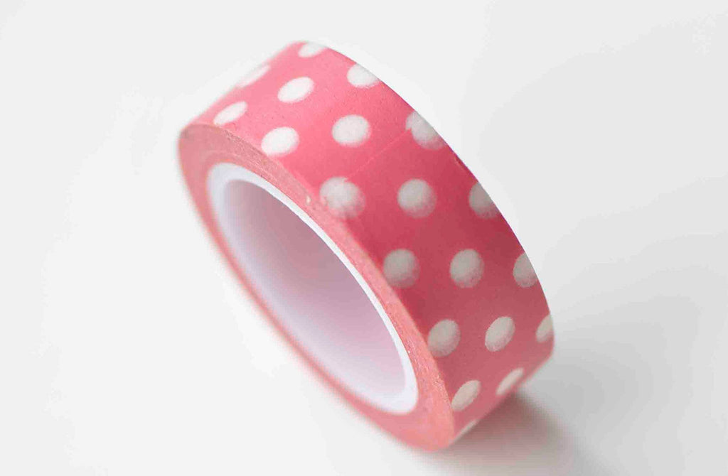 Red Washi Tape With White Polka Dots Masking Tape 15mm x 10M A13080