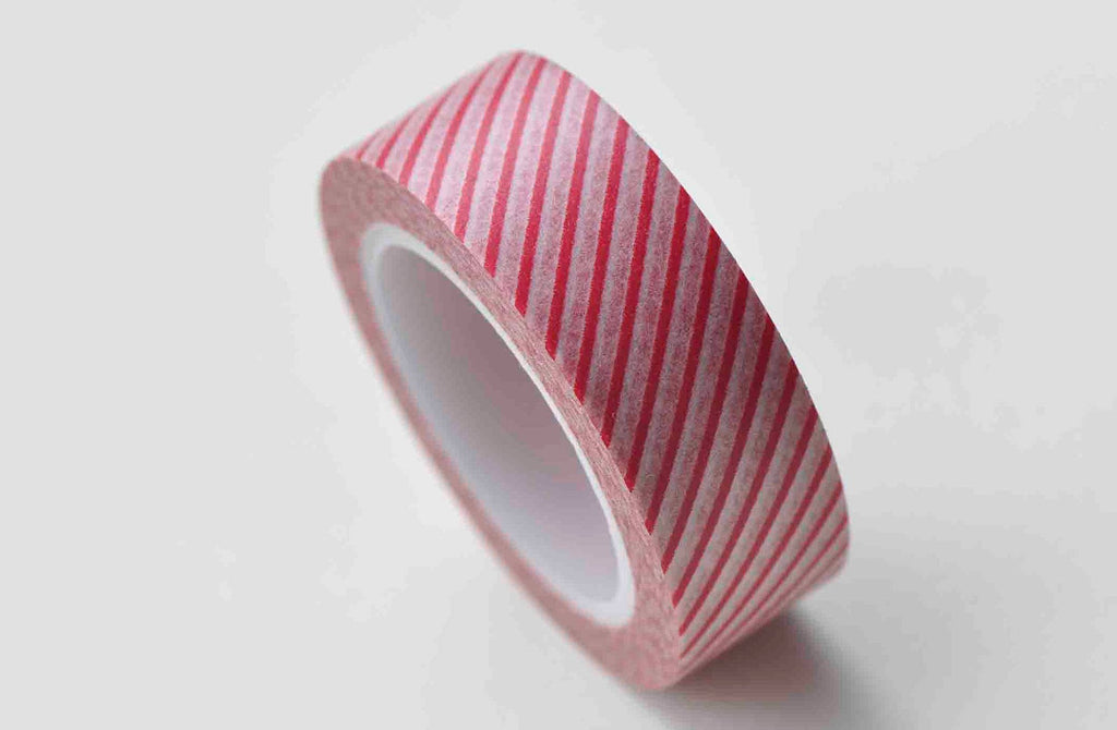 Red Stripes Deco Washi Tape 15mm Wide x 10M Roll A13012