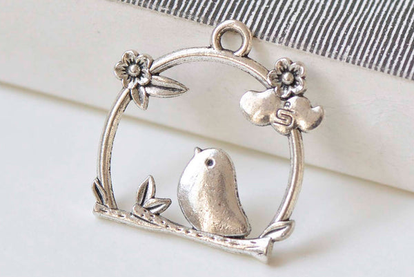 10 pcs Antique Silver Filigree Bird Cage Charms  25x26mm  A368