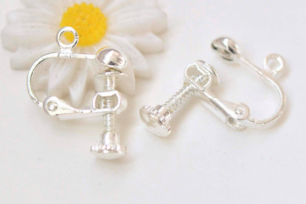 100 Silver Tone Clip On Ear Snap Dangle Earring with 10mm Pad Lever Back Finding