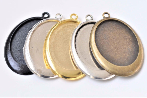Oval Pendant Tray Base Settings Match 30x40mm Cabochon Set of 6