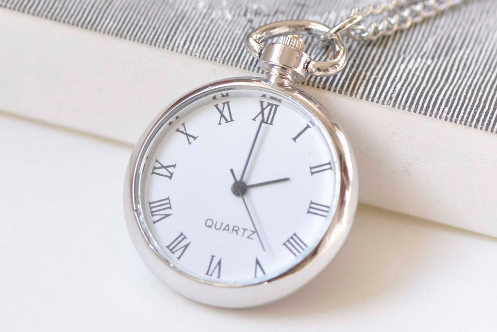 1 PC Platinum Silvery Gray Blank Pocket Watch Necklace A2200